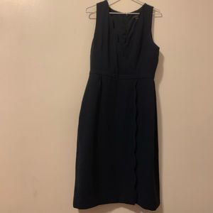 Jcrew navy scalloped office dress